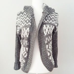 Aeropostale Bulky Grey and White Hooded Cardigan